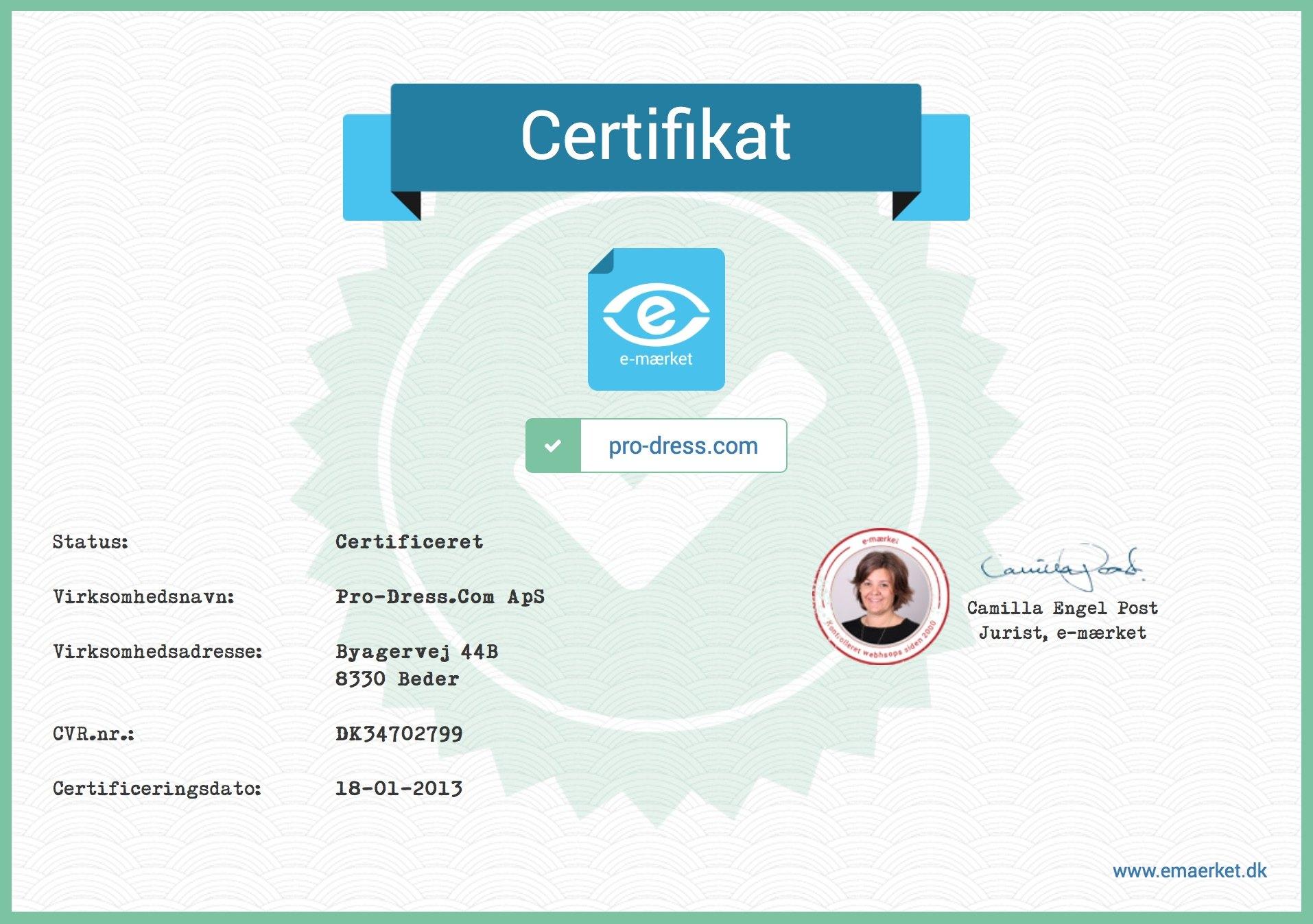 Certifikat e-mærket