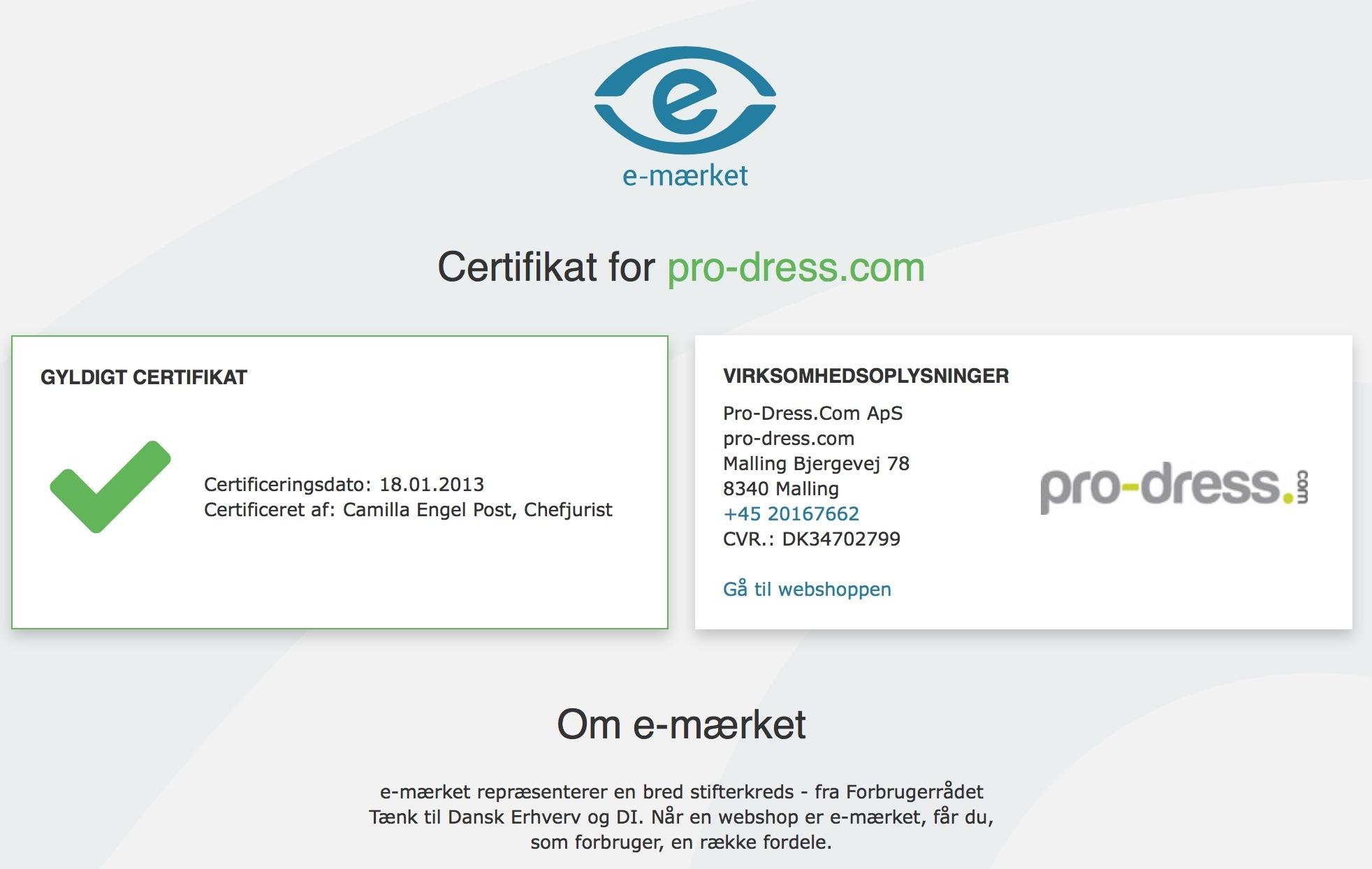 e-mærket certifikat