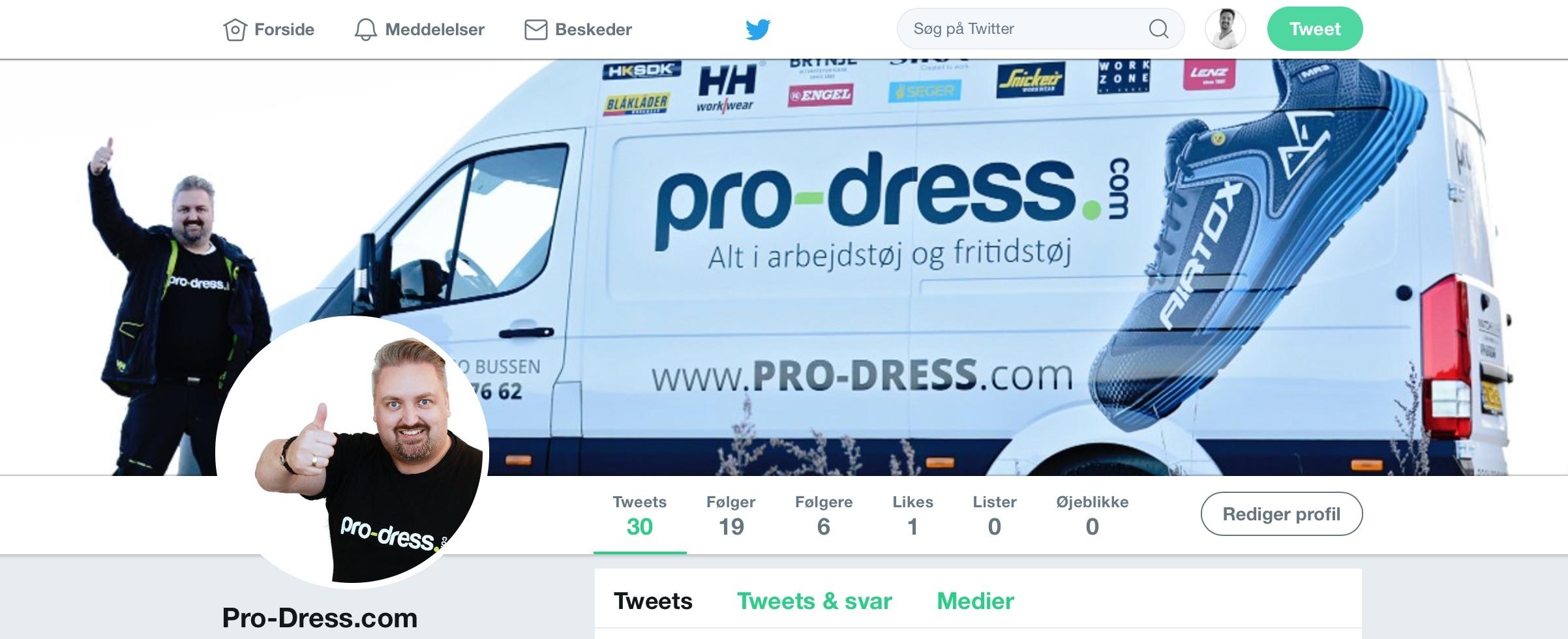 Twitter konto hos Pro-dress.com
