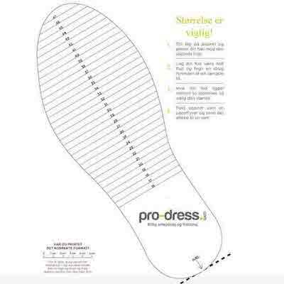 størrelsesguide til sko