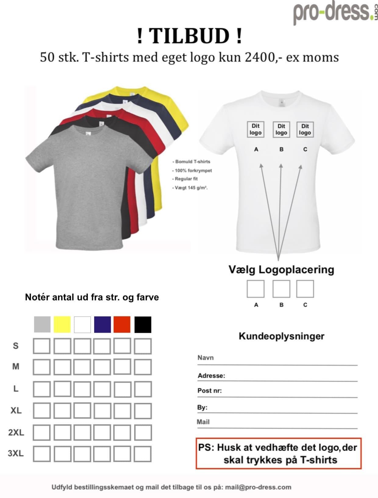 50 stk T-shirts med eget logo